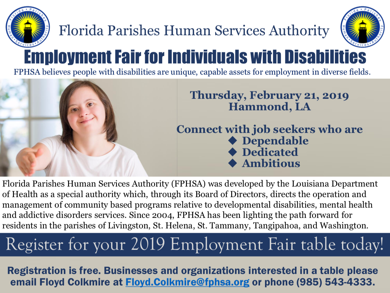 FPHSA Developmental Disabilities Services Employment Fair